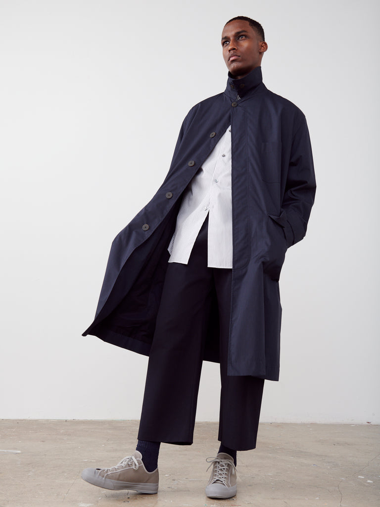 Rubato Car Coat In Dark Navy - Studio Nicholson