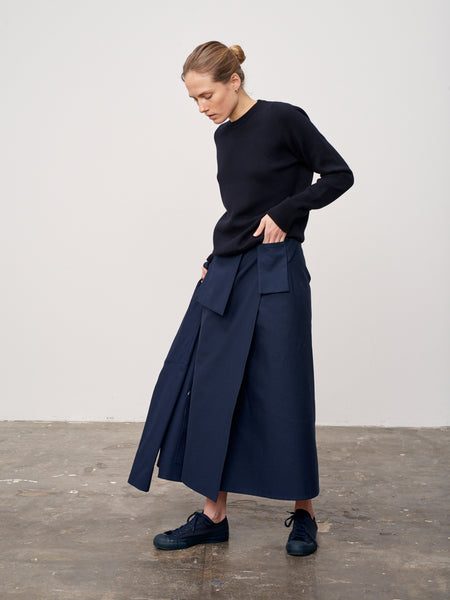 Rudd Skirt In Dark Navy - Studio Nicholson
