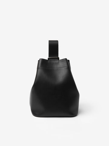 Slide Leather Cross Body Bag in Black
