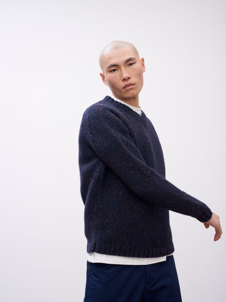 Salvation Knit In Navy Melange - Studio Nicholson