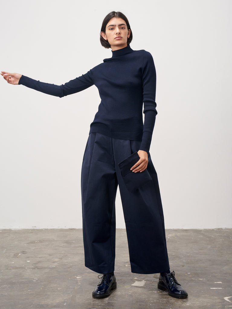 Sanctuary Mock Neck Knit In Dark Navy - Studio Nicholson