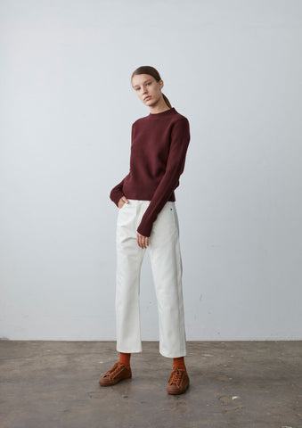 Seam Cashmere Knit In Oxblood