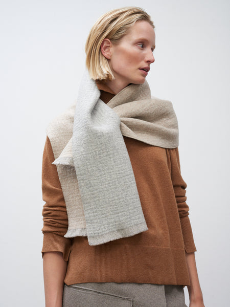 Sofia Scarf In Grey and Beige - Studio Nicholson