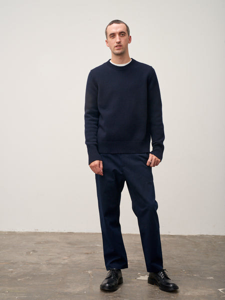 Sorello Lambswool Crew Neck Knit In Dark Navy - Studio Nicholson