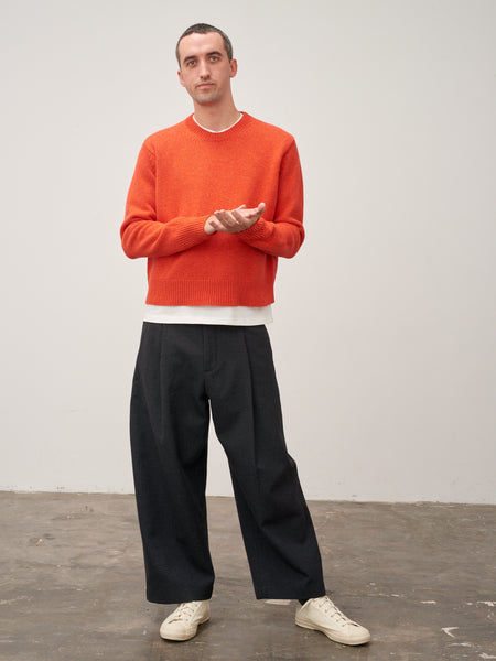 Sorello Lambswool Crew Neck Knit In Tomato Melange - Studio Nicholson