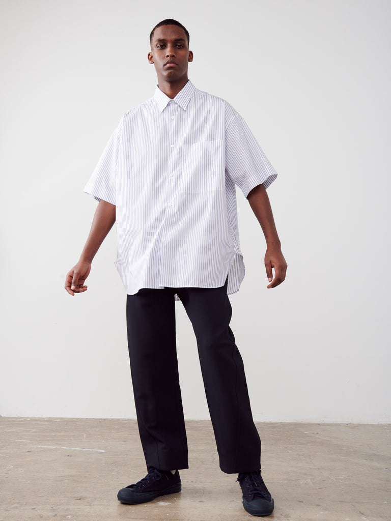 Sorono Shirt In Navy And White Stripe - Studio Nicholson