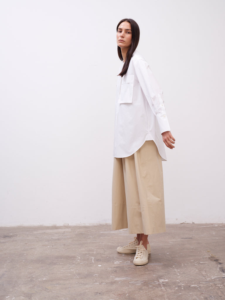 Tanaka Volume Shirt In Optic White - Studio Nicholson