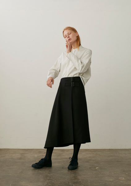 This Skirt In Black Wool Twill