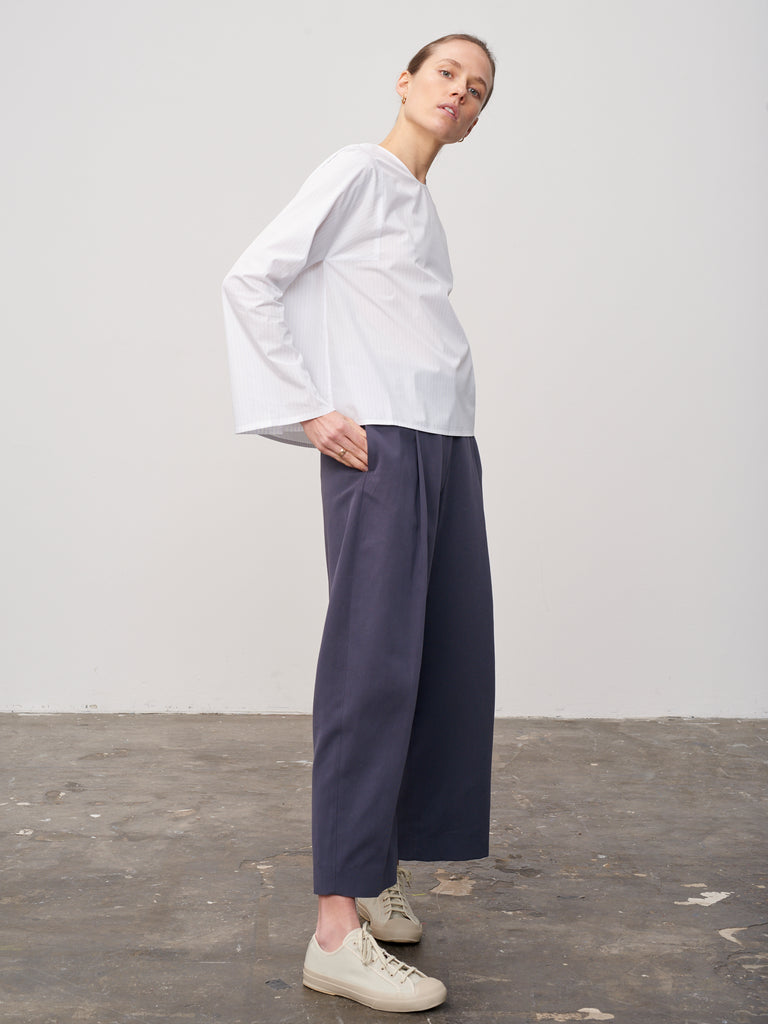 Tolan Top In Blue Stripe - Studio Nicholson