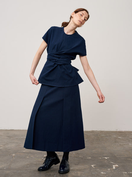 Trinity Skirt In Dark Navy Herringbone - Studio Nicholson