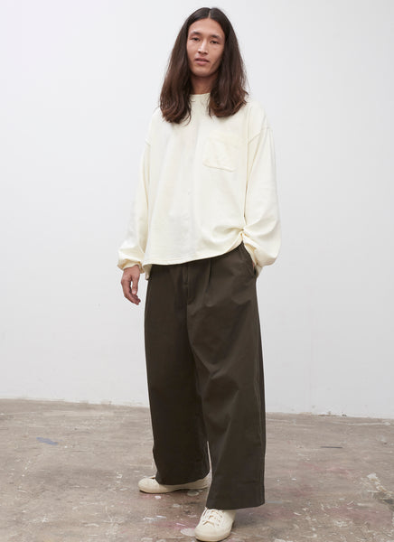 SNJP UNCHIKO Long Sleeve Jersey Top in Off White - Studio Nicholson