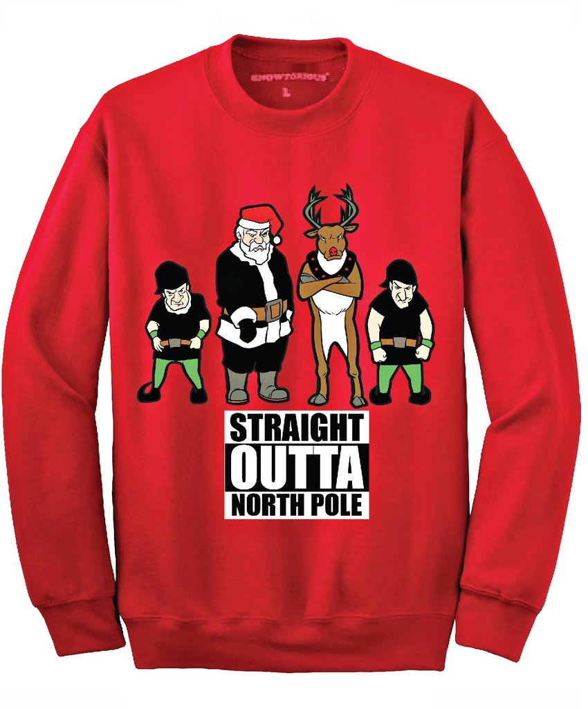 Straight Outta North Pole Ugly Christmas Sweater - Red