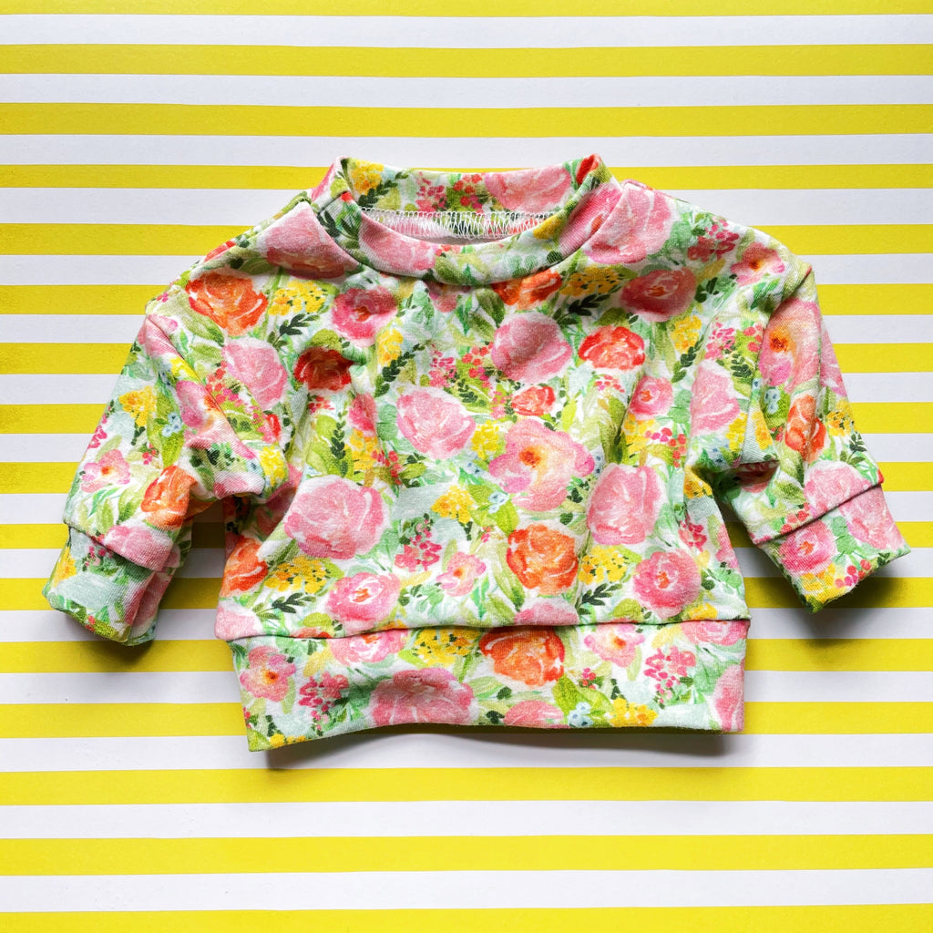 Handmade Doll PJ Top - Small Spring Floral
