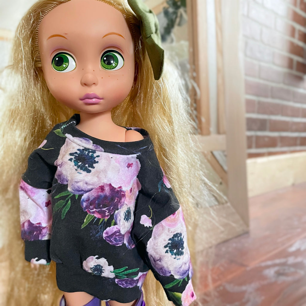 Handmade Doll PJ Top - Blueberry floral