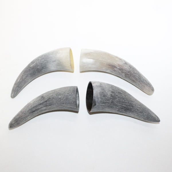 4 Raw Unfinished Cow Horn Tips #111 Natural Colored