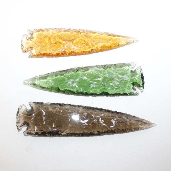 5 Glass Ornamental Spearheads  #9914  Arrowhead