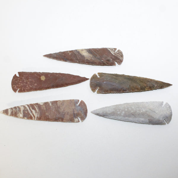 5 Stone Ornamental Spearheads  #6814  Arrowhead