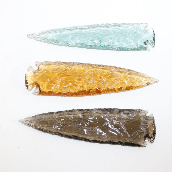 3 Glass Ornamental Spearheads  #4213  Arrowhead