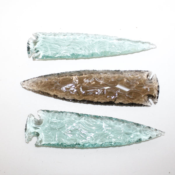 3 Glass Ornamental Spearheads  #8614  Arrowhead