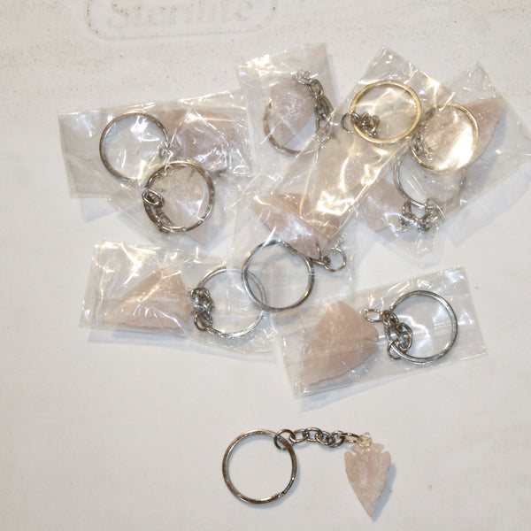 10 Rose Quartz Arrowhead Key Rings #0914  Keychain Tassel Bag Tag