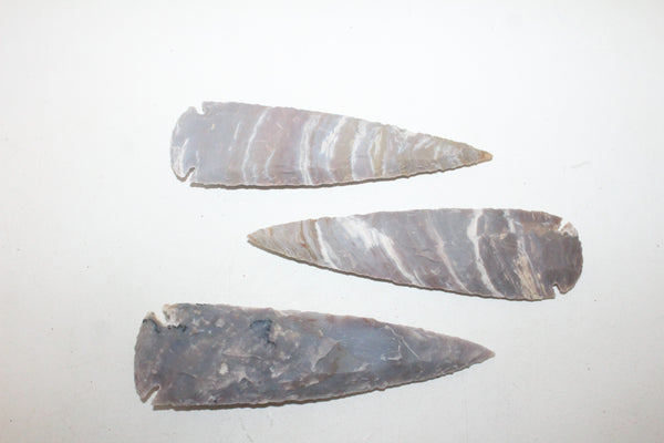 3 Stone ornamental Spearheads   #307  Arrowhead