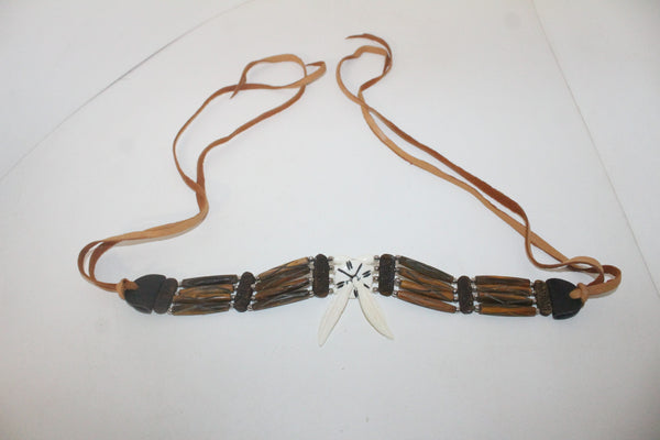 Bone feathers Bone hairpipe bead choker  609 replica primitive...