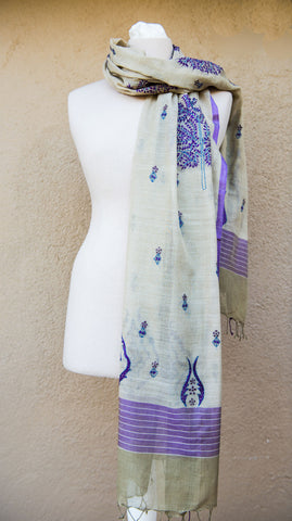 Tree of Life – hand-woven and hand-embroidered scarf