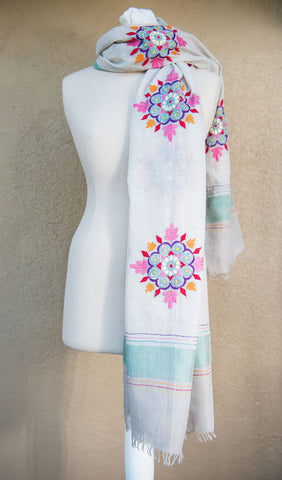 Floral Rangoli – hand-woven and hand-embroidered scarf