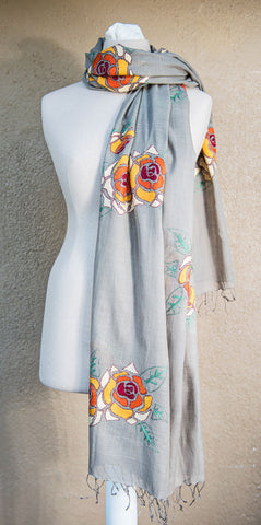 Orange and yellow roses – hand-woven and hand-embroidered scarf