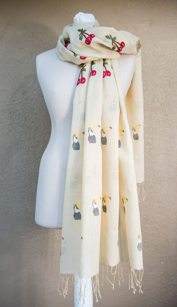 Toucans and cherries – hand-woven and hand-embroidered scarf