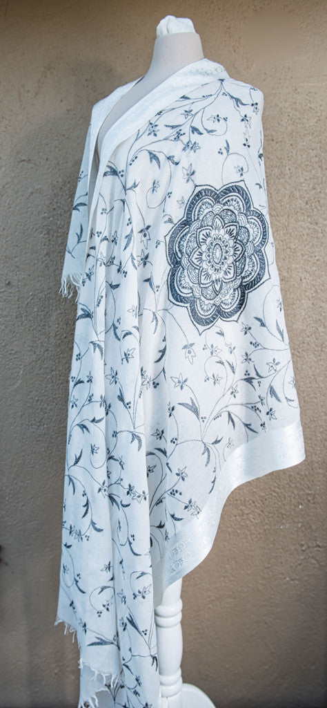 White Rangoli – hand-woven and hand-embroidered scarf