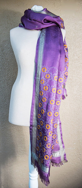 Purple silk geometric – hand-woven and hand-embroidered scarf