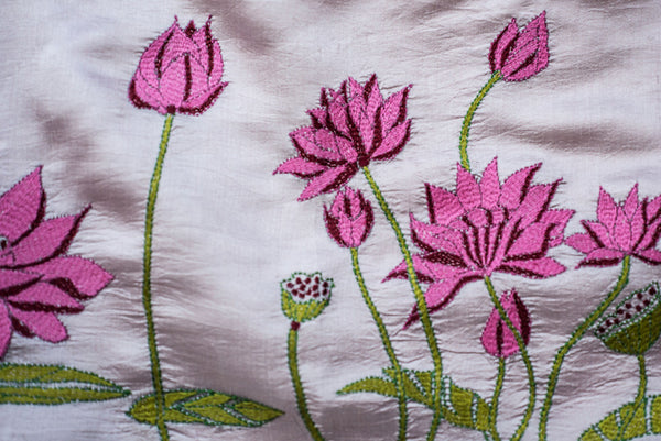 Pink Lotus – hand-woven and hand-embroidered scarf