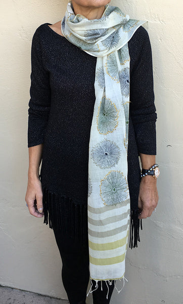 Sand Dollars – hand-woven and hand-embroidered scarf
