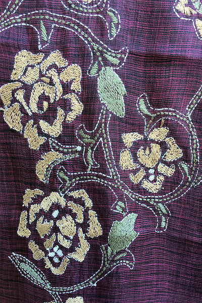 Roses on eggplant silk - hand-woven hand-embroidered scarf