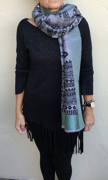 Feathers - hand-woven hand-embroidered scarf
