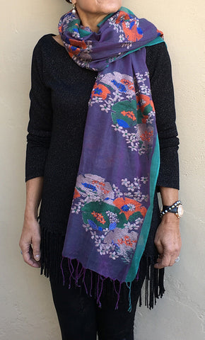 Japanese garden - hand-woven hand-embroidered scarf