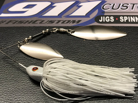 Spinnerbait - Hidden Weight - Double Willow - White - 911CustomLures.com