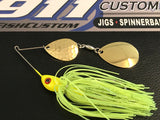 Spinnerbait - Hidden Weight - Double Colorado - Blended Chartreuse - 911CustomLures.com