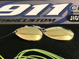 Spinnerbait - Hidden Weight - Double Colorado - Chartreuse Silver/Black fleck & White - 911CustomLures.com