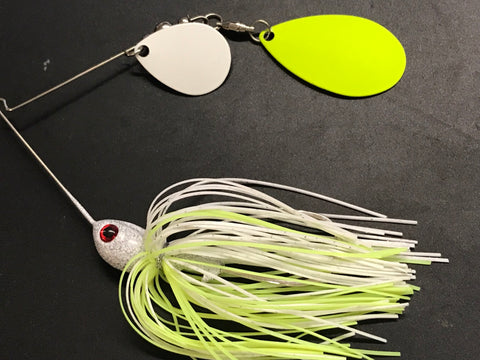 Spinnerbait - Shad Head - Painted Indiana/Colorado - Chartreuse Silver/Black fleck & White - 911CustomLures.com