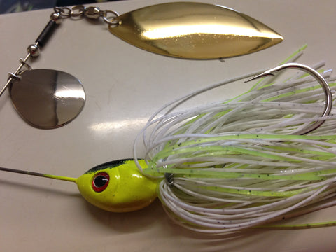 Spinnerbait - Shad Head - Tandem - Blended White & Chartreuse - 911CustomLures.com