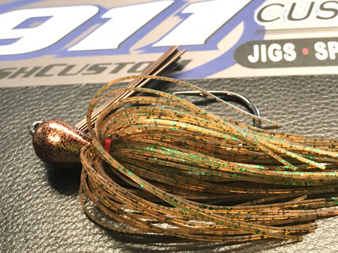 Flippin Jig - Pumpkin Green Fleck - 911CustomLures.com