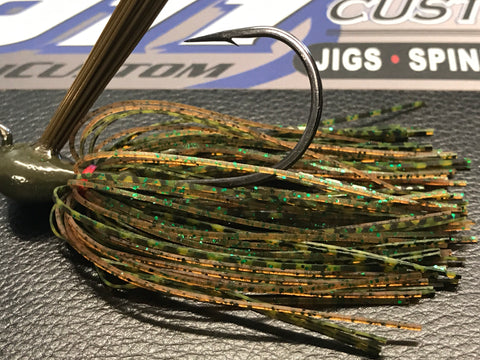 Flippin Jig - Rootbeer Pepper Green Fleck - 911CustomLures.com