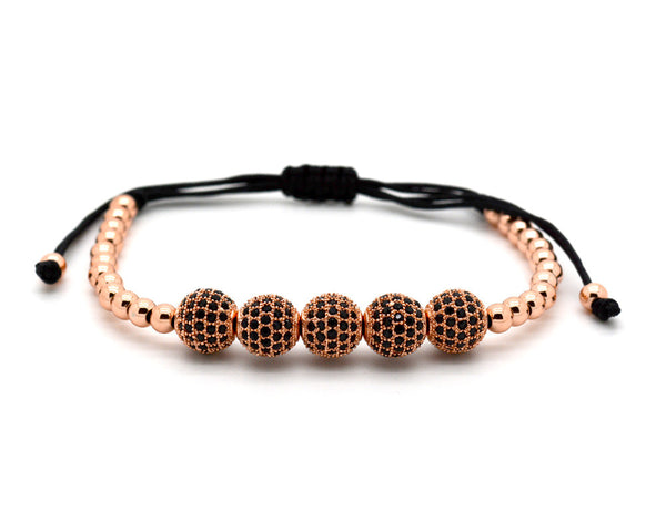Mister Sting Paved and 18k Rose Gold Plated Disco Balls Macrame Bracelet - MSM0122