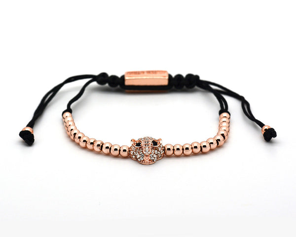 Mister Sting Paved Rose Gold Wild Cat Macrame Bracelet - MSM3233