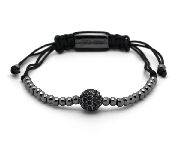 Mister Sting Paved Black Rhodium Disco Ball Macrame Bracelet - MSM1181