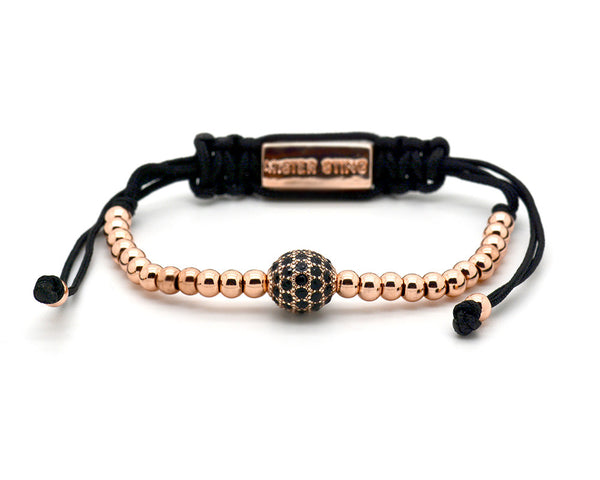 Mister Sting Paved Rose Gold Disco Ball Macrame Bracelet - MSM1234