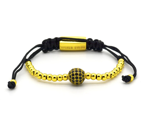 Mister Sting Yellow Gold Paved Disco Ball Macrame Bracelet - MSM1235