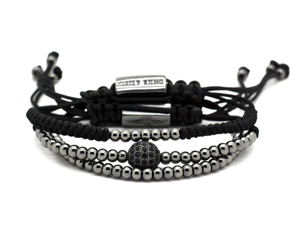 3 in 1 Mister Sting Black PVD Paved Disco Ball Macrame Bracelet - MSM2236